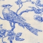 Blue Birds on White Linen Fabric