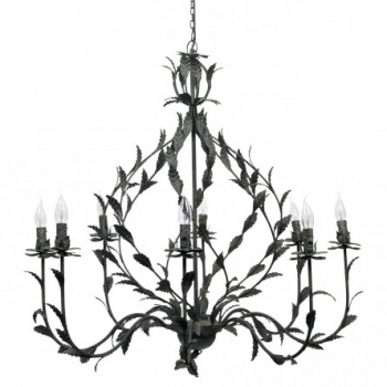 Eight Arm Metal Chandelier with Leaves