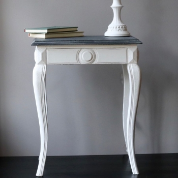 French Grey Top Bedside Table