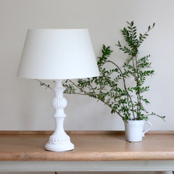 French White Wooden Table Lamp