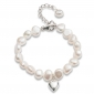 Girl's Silver Heart and Pearl Bracelet