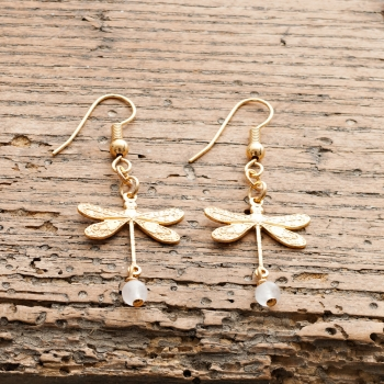 Gold Dragonfly and Rose Quartz Earrings