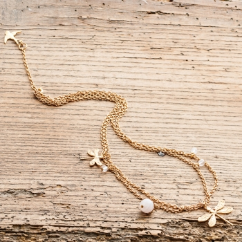 Gold Dragonfly and Rose Quartz Necklace