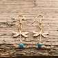 Gold Dragonfly and Turquoise Earrings