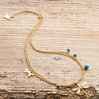 Gold Dragonfly & Turquoise Necklace