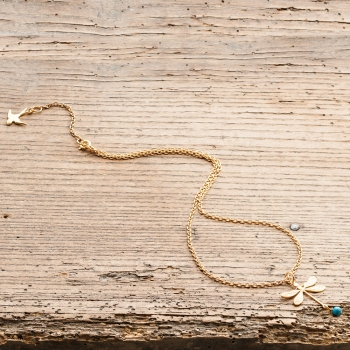 Gold Dragonfly Necklace With Turquoise