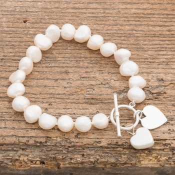 White Pearl Bracelet with Hearts