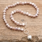Pink Pearl Necklace & Silver Heart