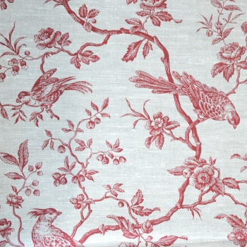 Red Birds on Natural Linen Fabric