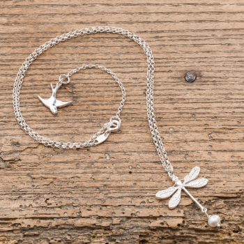 Silver And Pearl Dragonfly Necklace