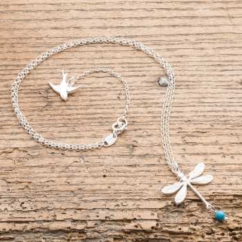 Silver And Turquoise Dragonfly Necklace