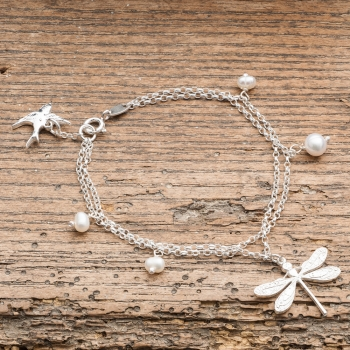 Silver Dragonfly Bracelet With Pearls