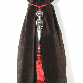 Silver Tie-Back with Red Tassel
