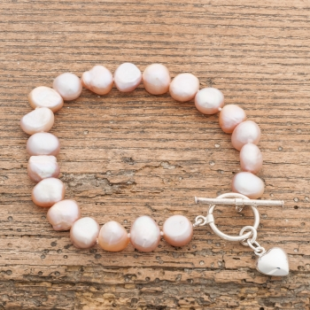 White Pearl Bracelet with Silver Heart