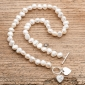 White Pearl Necklace with Hearts